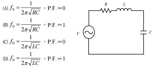 如图所示rlc串联电路,其谐振频率f0及谐振时之功率因数p.f.